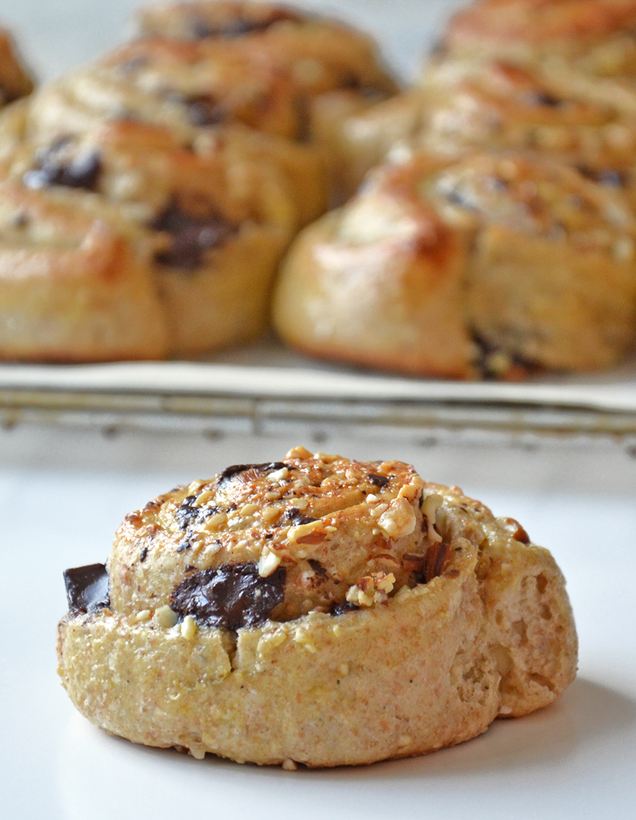 Buns filled with chocolate and almonds