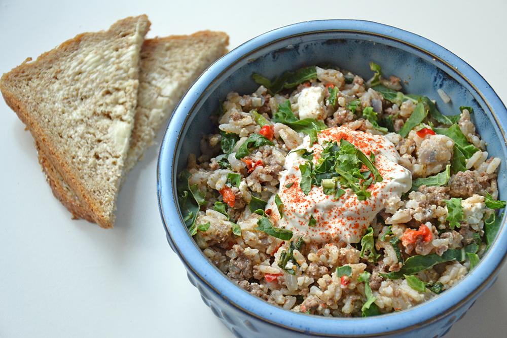 Gryte med kjøttdeig og ris