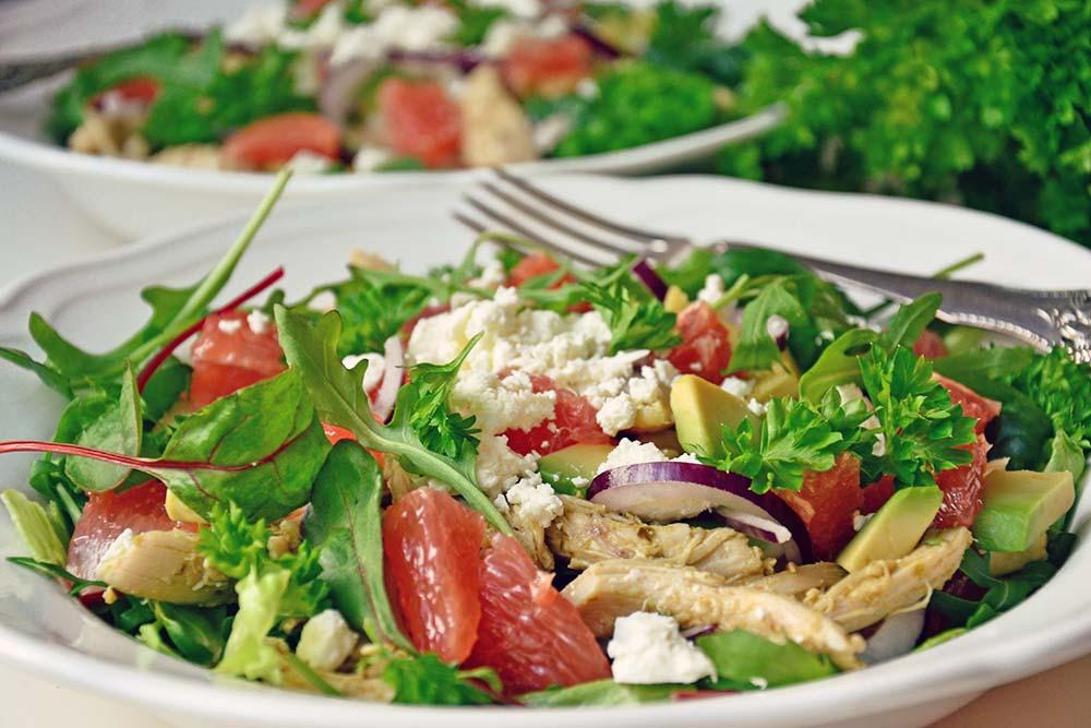 Roasted chicken, avocado & grapefruit salad