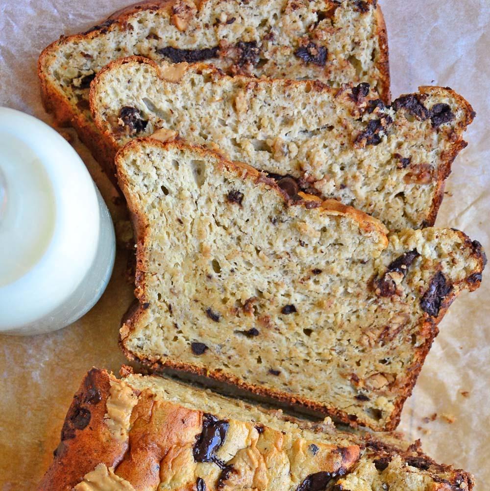 Chocolate chip peanut butter banana bread
