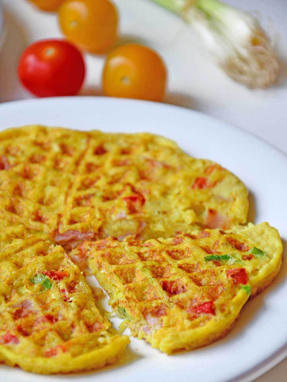 Potato, ham and parmesan waffles
