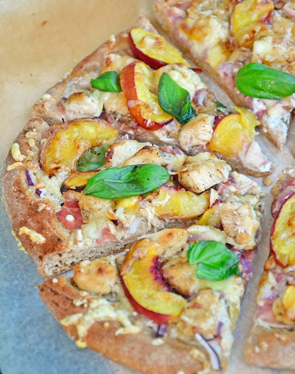 Chicken nectarine pizza