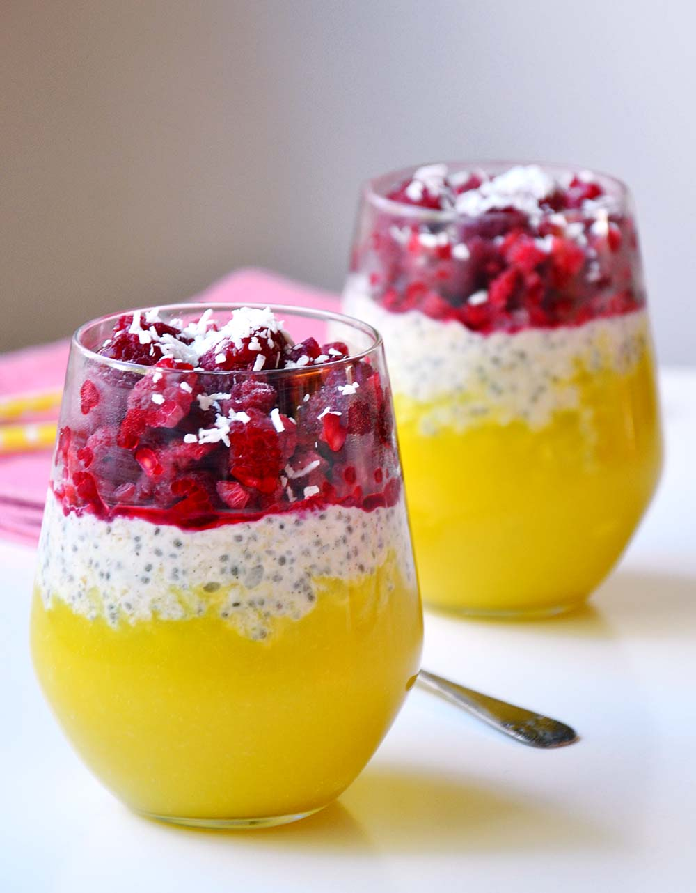 Protein overnight oats with mango and raspberries