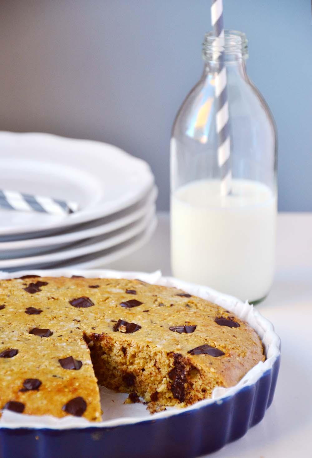 Chocolate chip skillet cookie pie