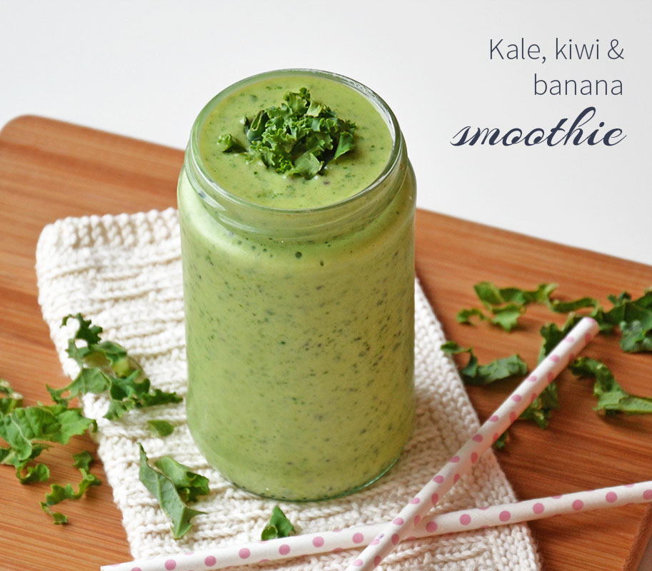 kale kiwi and banana smoothie