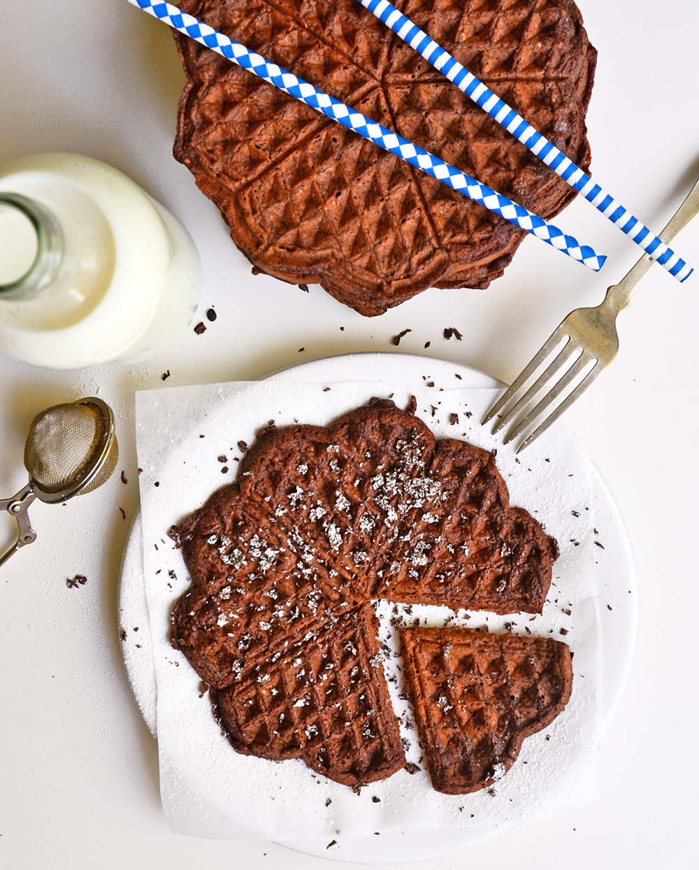 Spicy chocolate brownie waffles